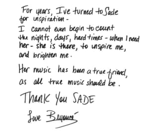 Handwritten letter from Beyoncé Knowles to Sade
