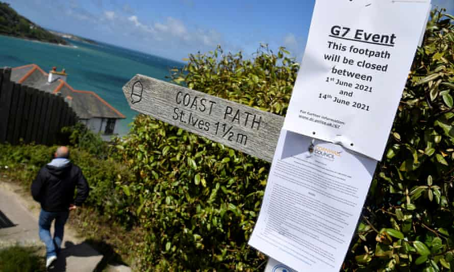 A G7 sign on the coastal path near the Carbis Bay resort in Cornwall.
