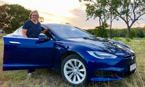 Sylvia Wilson, 70, is the first woman to drive around Australia in an electric car.