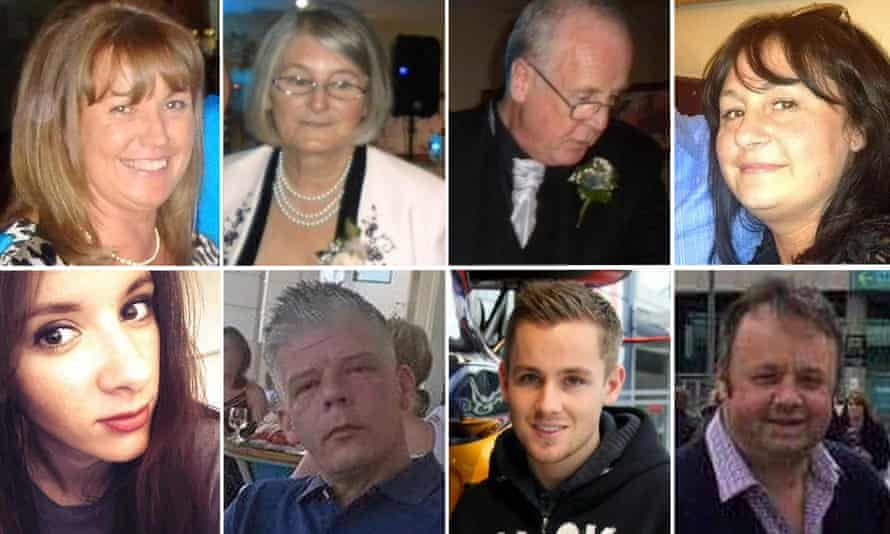Eight victims of the Tunisia terror attack. Top row (L to R): Lorna Carty, Jim and Ann McQuire, Sue Davey. Bottom row (L to R): Carly Lovett, Scott Chalkley, Joel Richards, Adrian Evans.
