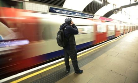 Commuter on tube platform