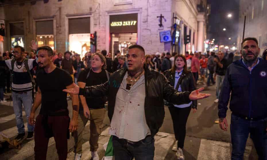 Giuliano Castellino demonstrates in Rome