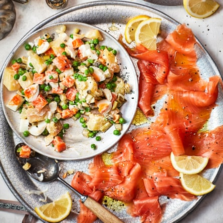 Russian salad with smoked salmon