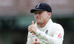 England's Dom Bess celebrates taking the wicket of South Africa's Dean Elgar