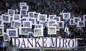 Lazio's fans thank Miroslav Klose for his goals after his last game for the club on Sunday, during which he scored a penalty against Fiorentina.