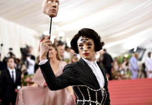All eyes are on US actor Ezra Miller in a Burberry suit with pearl corset