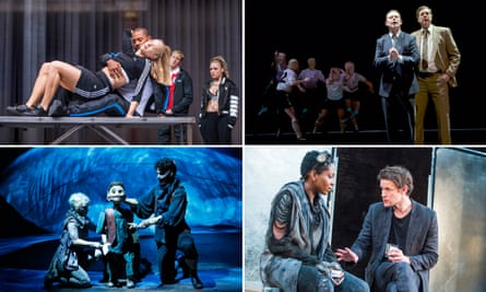 (clockwise from top left) Imogen at Shakespeare's Globe, The Damned United at West Yorkshire Playhouse, Unreachable at the Royal Court and The Grinning Man at Bristol Old Vic