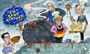 Cartoon of Angela Merkel and Christine Lagarde arguing over a recipe while Tsipras waits to be fed