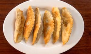 The art of crimpling: chilli chicken guo tie dumplings.