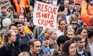 Demonstrators marched in solidarity in Berlin with the German captain of rescue vessel Sea-Watch 3, Carola Rackete.