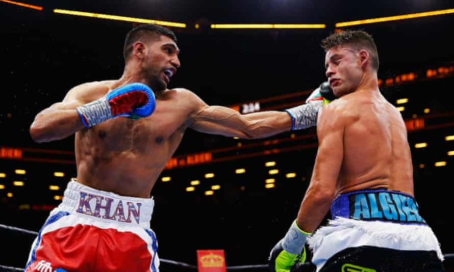 Amir Khan punches Chris Algieri during their welterweight bout in New York, May 2015. Khan won the fight on a unanimous decision but has not fought since.