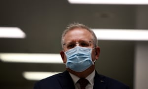 Prime minister Scott Morrison is seen wearing a face mask during a press conference at AstraZeneca on 19 August 2020 in Sydney, Australia.