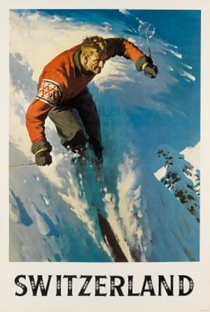Possibly designed to attract American skiers to Alpine slopes, this dramatic off-piste view is signed by an unknown designer
