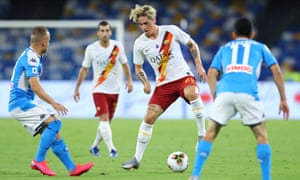 Roma's Nicolò Zaniolo in action against Napoli