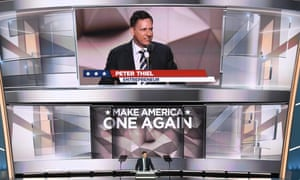 PayPal co-founder and Facebook board member Peter Thiel speaking at the Republican national convention. Thiel's donation to Trump has sparked criticism in the tech world.