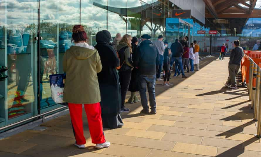Shoppers queue outside the Nike store at the Bishop Centre in Taplow after the easing of some of the Covid-19 lockdown restrictions