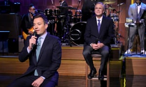 Host Jimmy Fallon, left, and former governor Jeb Bush, right, 'Slow Jam the News' on The Tonight Show on Tuesday.