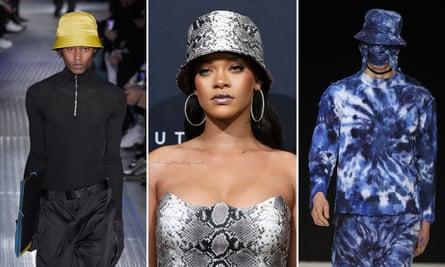 The bucket stops here ... Prada (left), Craig Green (right) and Rihanna, patron saint of the modern bucket hat.