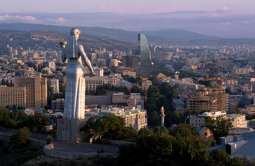 """The Kartlis Deda monument, informally known as """"Mother Georgia,"""" looking out over the capital."""