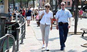 May and husband Philip in Desenzano del Garda on Sunday.