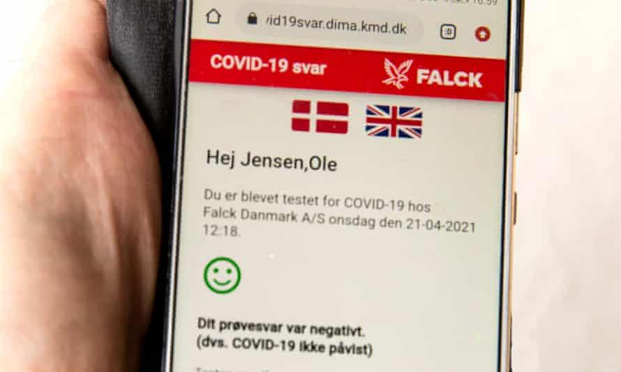 An app shows a negative coronavirus test result.