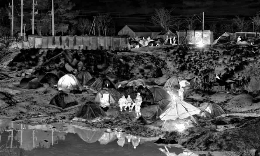 The refugee crisis in black and white … detail of a shot from Richard Mosse's Heat Maps series.