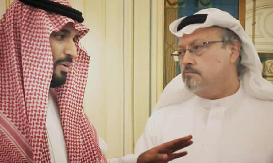 Saudi Crown Prince Mohammed bin Salman, left, with the journalist Jamal Khashoggi in a scene from the documentary The Dissident.