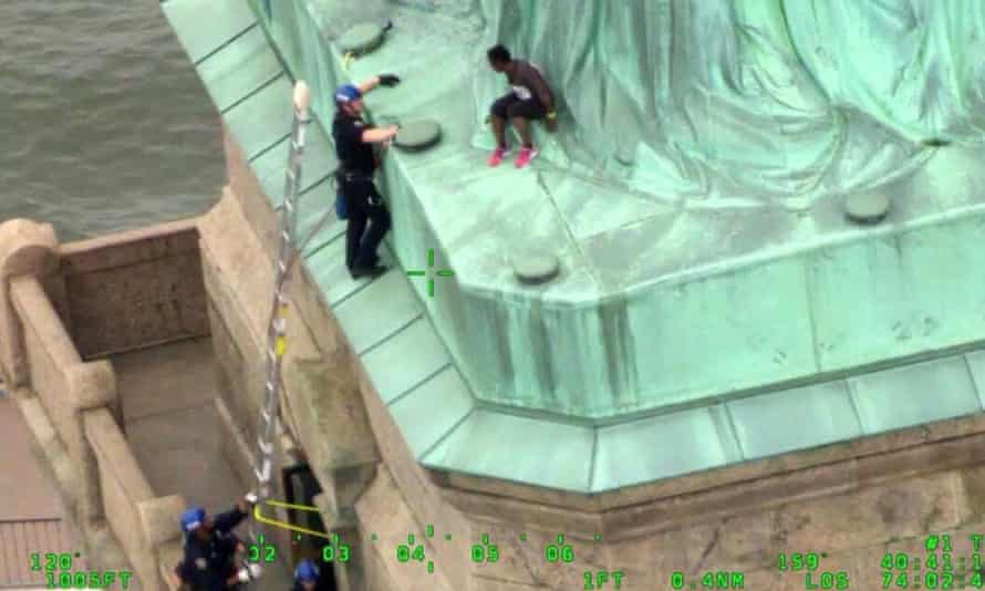 Okoumou, an activist, climbed the Statue of Liberty on 4 July.