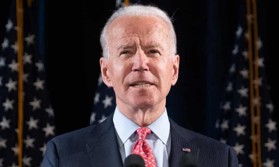 Joe Biden speaks about Covid-19, known as the coronavirus, in Wilmington, Delaware.
