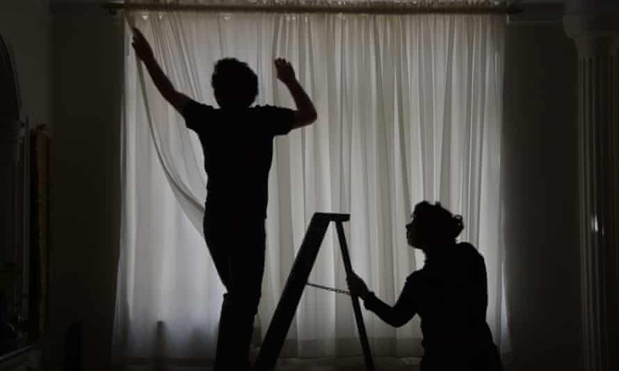 Filmmakers Sara and Mohammad Reza in their home during lockdown