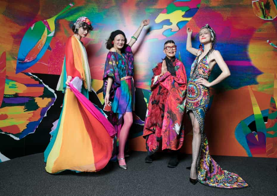 Stylist Chloe Hill, model Rachel Rutt, designer Jenny Kee and activist Ollie Henderson wearing designs by Jenny Kee and Romance was Born at the opening of the Powerhouse's major fashion exhibition, Step Into Paradise by Linda Jackson and Jenny Kee in 2019.