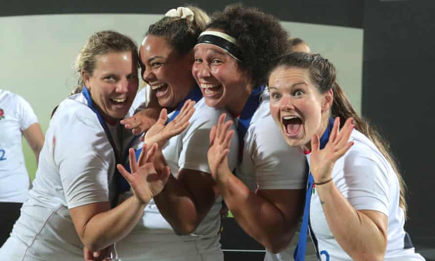 Vickii Cornborough, Detysha Harper, Shaunagh Brown and Leanne Riley of England celebrate after winning the Six Nations in 2020.