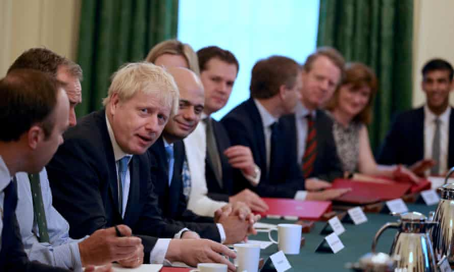 Boris Johnson holds his first cabinet meeting as prime minister