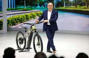 Skoda CEO Bernhard Maier presents the Klement concept bike