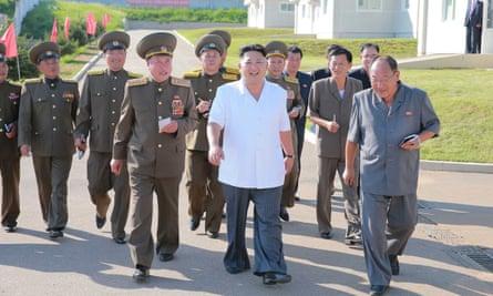 Kim Jong-un inspecting a pig farm near Pyongyang.