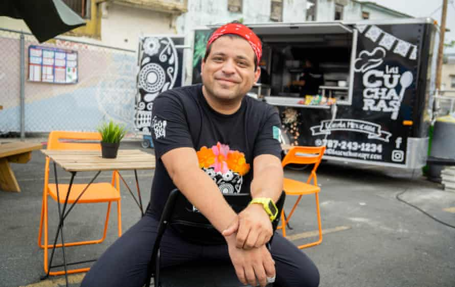 Javier Seáñ–ez, owner of Las Cucharas Comida Mexicana, by his food truck at the Miramar Food Truck Park.