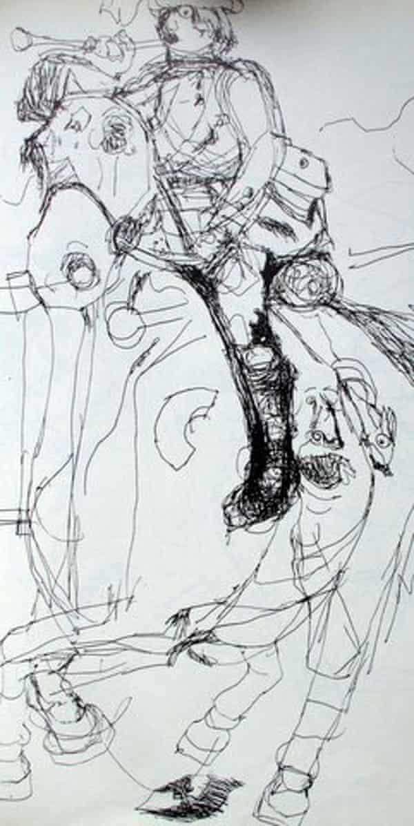 A horse and rider drawn by Nadia Chomyn when she was five