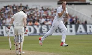 Stuart Broad of England celebrates dismissing Steven Smith