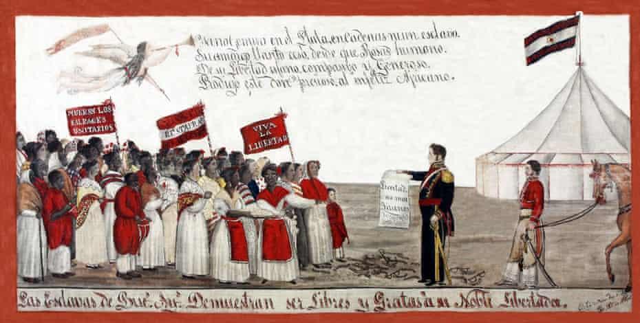 Black slaves pay homage to the 19th-century politician Juan Manuel de Rosas.