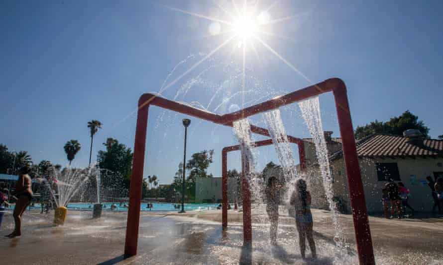 A swimming pool in San Bernardino in June. Heat is already the biggest weather-related killer of Americans, according to the National Weather Service.
