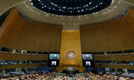 Iran's President Hassan Rouhani speaks at the United Nations headquarters in New York.