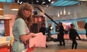 Good Morning Britain presenter Kate Garraway gets up to leave the ITV studios.