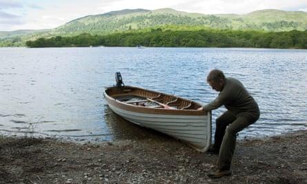 Severin Carrell steps ashore on Inchconnachan