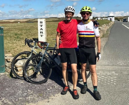 Titans of the tarmac: Ed Marriott and Martin Love start their 'end to end' ride in Cornwall, before heading north to John o'Groats
