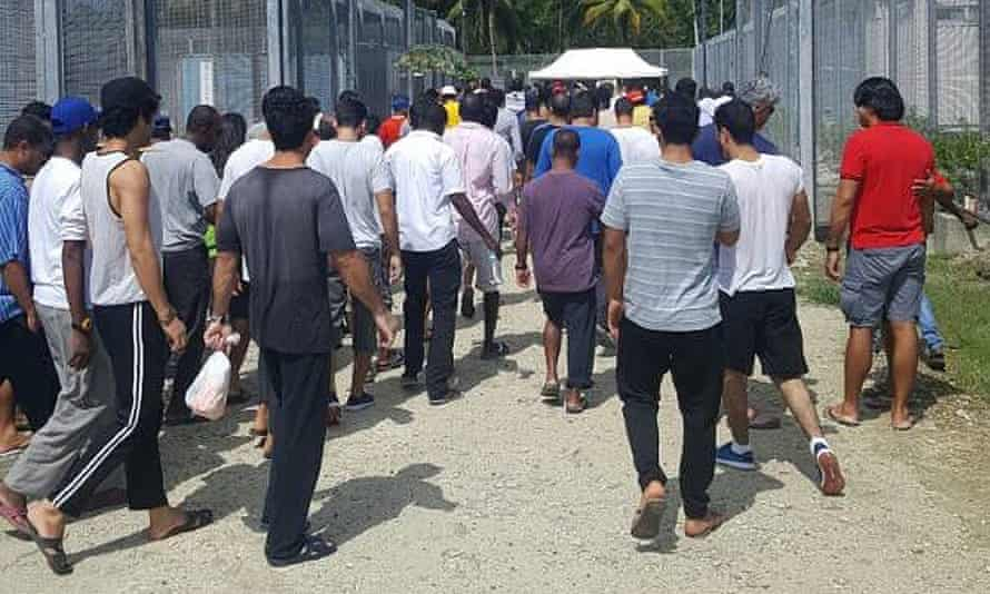 Refugees at the Manus Island immigration detention centre in Papua New Guinea.