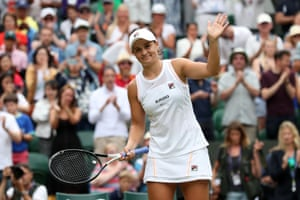 Barty missed most of the 2020 season after the Covid-19 pandemic impacted the sporting world. Barty celebrates victory in her third-round match at Wimbledon this week.