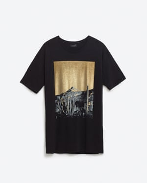 Black t-shirt with gold print of a cactus