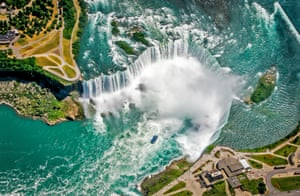 Horseshoe Falls, Niagara Falls, Canada-USNiagara Falls was formed as the Niagara river plunged over an escarpment on its way to the Atlantic Ocean. In a process that continues today, the river eroded layers of soft rock that sat below a harder dolomite caprock. As the soft layers eroded, great chunks of the caprock gave way, leaving a vertical cliff face.