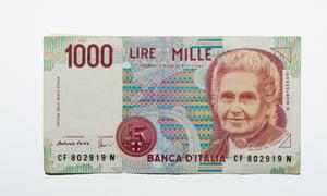 Old Italian 1000 lire banknote