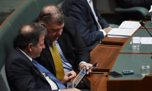 Dennis Jensen and Craig Kelly during question time